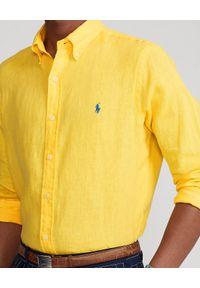 Ralph Lauren - RALPH LAUREN - Żółta koszula z lnu Slim Fit. Typ kołnierza: button down, polo. Kolor: żółty. Materiał: len. Długość rękawa: długi rękaw. Długość: długie. Wzór: haft #2