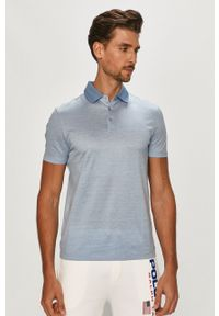 Niebieska koszulka polo Strellson gładkie, polo, krótka, casualowa
