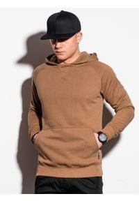 Ombre Clothing - Bluza męska z kapturem B1085 - brązowa - XXL. Typ kołnierza: kaptur. Kolor: brązowy. Materiał: bawełna, poliester
