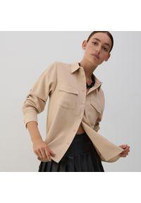 Reserved - Gładka koszula - Beżowy. Kolor: beżowy. Wzór: gładki