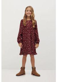 Brązowa sukienka Mango Kids z długim rękawem, mini