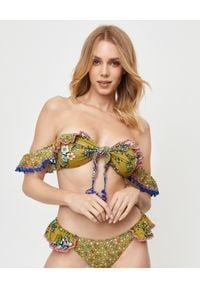ANJUNA - Top od bikini Ombretta. Kolor: zielony. Materiał: dzianina, tkanina. Wzór: aplikacja, kwiaty
