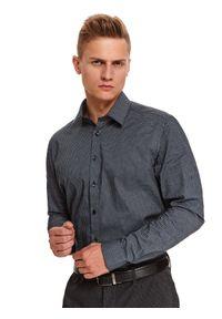 TOP SECRET - Koszula we wzór o kroju regularnym. Okazja: na imprezę. Kolor: niebieski. Materiał: materiał. Długość: długie. Sezon: zima. Styl: wizytowy, elegancki