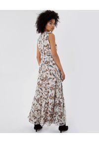 Liu Jo - LIU JO - Maxi sukienka w kwiatowy print. Kolor: beżowy. Wzór: nadruk, kwiaty. Sezon: lato, wiosna. Długość: maxi