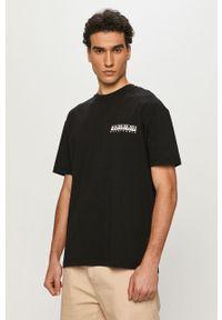 Czarny t-shirt Napapijri na co dzień, casualowy, z nadrukiem