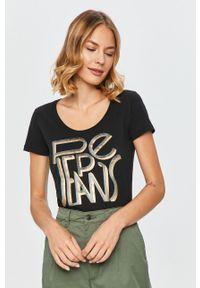 Czarna bluzka Pepe Jeans z nadrukiem, z okrągłym kołnierzem, na co dzień