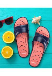 LANO - Klapki damskie basenowe Lano KL-3-2246-6 Granatowe. Okazja: na plażę. Kolor: niebieski. Materiał: guma. Obcas: na obcasie. Wysokość obcasa: średni, niski