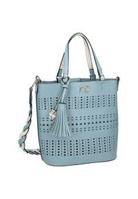 Niebieska torebka Nobo skórzana, w ażurowe wzory, z breloczkiem, klasyczna
