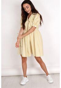 e-margeritka - Sukienka rozkloszowana oversize w paski - żółty, U. Kolor: żółty. Materiał: bawełna, materiał, elastan. Wzór: paski. Typ sukienki: oversize