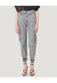 IRO - Szare spodnie jeansowe Roda. Kolor: szary. Wzór: paski