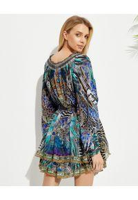 Camilla - CAMILLA - Jedwabna sukienka mini Animal Army. Kolor: niebieski. Materiał: jedwab. Wzór: motyw zwierzęcy, nadruk. Długość: mini