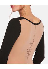 Wolford - WOLFORD - Body z kryształowym logo. Stan: podwyższony. Kolor: czarny. Materiał: dzianina, materiał. Długość: długie. Wzór: aplikacja