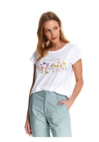 Biały t-shirt DRYWASH na co dzień, casualowy