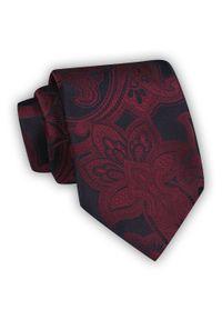 Chattier - Ciemnoczerwony Krawat Męski w Kwiaty, Klasyczny, Szeroki 8 cm, Elegancki -CHATTIER. Kolor: czerwony. Materiał: tkanina. Wzór: kwiaty. Styl: klasyczny, elegancki