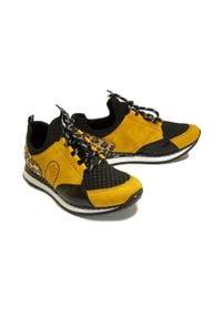 Rieker - RIEKER N3083-68 sneaker yellow combination, półbuty damskie. Zapięcie: sznurówki. Szerokość cholewki: normalna