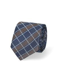 Lancerto - Krawat Brązowo-Granatowy w Kratę. Kolor: niebieski, brązowy, wielokolorowy. Materiał: mikrofibra, materiał. Styl: elegancki