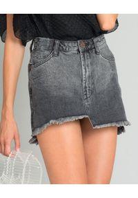 ONETEASPOON - Asymetryczna spódnica Washed Black. Stan: podwyższony. Kolor: szary. Materiał: jeans. Długość: długie. Wzór: aplikacja. Styl: klasyczny