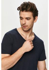 Niebieski t-shirt Premium by Jack&Jones gładki, na co dzień