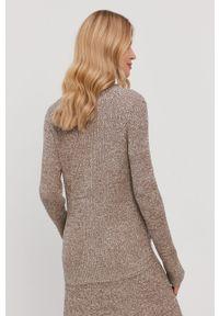 Beżowy sweter Samsoe & Samsoe gładki, casualowy