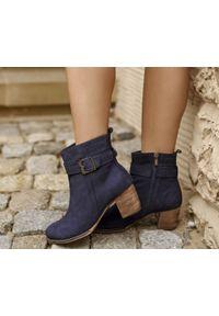 Niebieskie botki Zapato wąskie