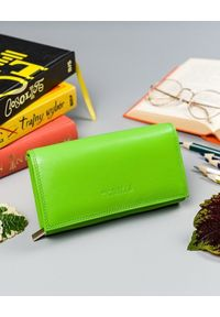 4U CAVALDI - Portfel damski zielony Cavaldi RD-07-GCL MINT. Kolor: zielony. Materiał: skóra