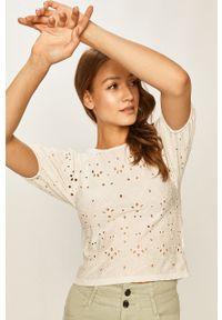 Biała bluzka Answear Lab krótka, z krótkim rękawem
