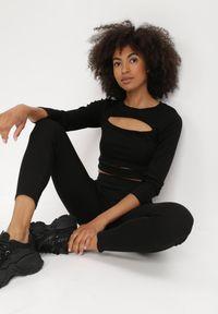 Born2be - Czarne Legginsy Purah. Kolor: czarny. Długość: długie. Wzór: gładki, aplikacja, nadruk