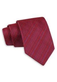 Ciemny Czerwony Klasyczny Szeroki Krawat -Angelo di Monti- 7 cm, Męski, Elegancki, w Drobne Paski. Kolor: czerwony. Wzór: paski, prążki. Styl: klasyczny, elegancki