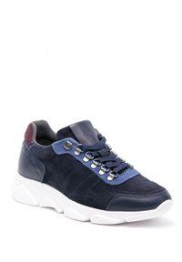 Niebieskie sneakersy GOE z okrągłym noskiem, na sznurówki