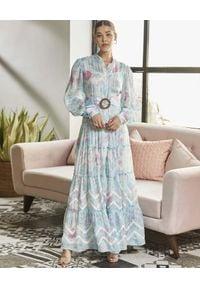 ROCOCO SAND - Niebieska sukienka maxi. Kolor: niebieski. Materiał: materiał. Długość rękawa: długi rękaw. Wzór: kwiaty, haft, nadruk, aplikacja. Sezon: lato. Długość: maxi