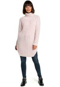 Różowy długi sweter MOE z golfem