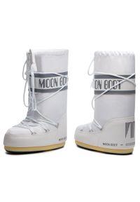 Białe śniegowce Moon Boot z cholewką, na zimę, na sznurówki