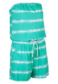 Kombinezon bawełniany bandeau, krótkie nogawki bonprix mentolowy niebieski. Kolor: zielony. Materiał: bawełna. Długość: krótkie