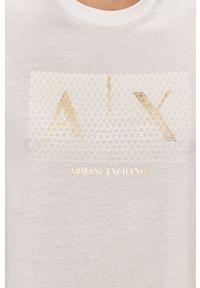 Biały t-shirt Armani Exchange casualowy, z nadrukiem, na co dzień