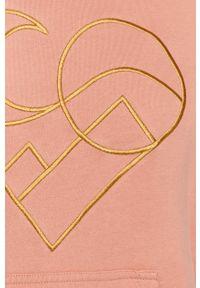 Różowa bluza Femi Stories z aplikacjami, z dekoltem karo, długa