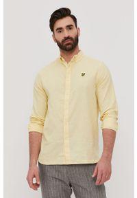 Lyle & Scott - Koszula. Okazja: na co dzień. Typ kołnierza: button down. Kolor: żółty. Materiał: len, tkanina, bawełna. Długość rękawa: długi rękaw. Długość: długie. Wzór: gładki, aplikacja. Styl: casual #3