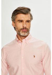 Polo Ralph Lauren - Koszula. Typ kołnierza: polo. Kolor: różowy. Materiał: materiał. Wzór: gładki