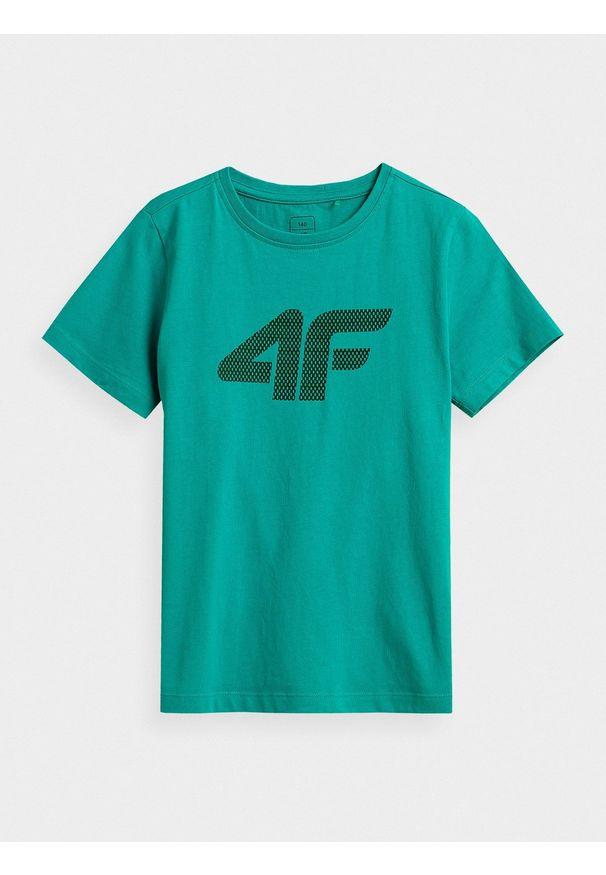 4f - T-shirt chłopięcy (122-164). Kolor: turkusowy. Materiał: bawełna, materiał