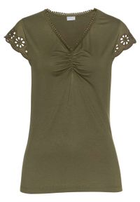 Shirt LENZING™ ECOVERO™ z koronką bonprix zielony khaki. Kolor: zielony. Materiał: koronka. Wzór: koronka
