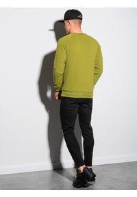 Ombre Clothing - Bluza męska bez kaptura B1156 - oliwkowa - XXL. Typ kołnierza: bez kaptura. Kolor: oliwkowy. Materiał: dresówka, bawełna, jeans, dzianina, poliester