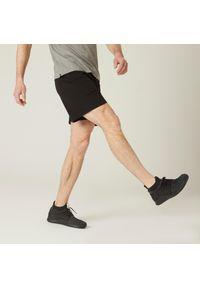 DOMYOS - Spodenki fitness męskie Nyamba. Materiał: bawełna, materiał, poliester. Wzór: ze splotem. Sport: fitness