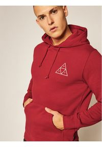 HUF Bluza Essentials PF00100 Czerwony Regular Fit. Kolor: czerwony