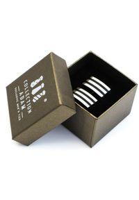 Modini - Srebrne spinki do mankietów z czarnymi paskami A148. Kolor: srebrny, wielokolorowy, czarny