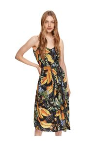 DRYWASH - Sukienka midi na ramiączkach w roślinny nadruk. Typ kołnierza: dekolt w kształcie V. Kolor: czarny. Materiał: tkanina. Długość rękawa: na ramiączkach. Wzór: nadruk. Sezon: lato. Długość: midi