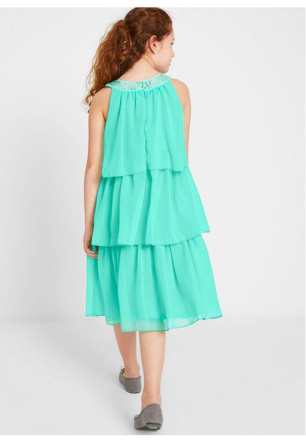 Zielona sukienka bonprix bez ramiączek, klasyczna