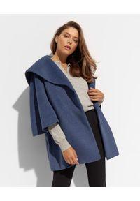CINZIA ROCCA - Granatowy oversizowy płaszcz z dużym kapturem. Kolor: niebieski. Materiał: materiał