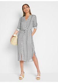 Sukienka szmizjerka z przyjaznej dla środowiska wiskozy bonprix ciemnoniebiesko-biały. Kolor: niebieski. Materiał: wiskoza. Wzór: nadruk. Typ sukienki: szmizjerki