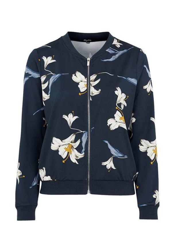 Happy Holly Bomberka we wzory Hanna ciemnoniebieski we wzory female niebieski/ze wzorem 36/38. Kolor: niebieski. Materiał: jersey, tkanina, prążkowany