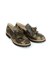 Zapato - półbuty - skóra naturalna - model 247 - kolor moro. Okazja: do pracy, na imprezę, na spacer. Zapięcie: bez zapięcia. Materiał: skóra. Szerokość cholewki: normalna. Wzór: moro. Obcas: na obcasie. Styl: klasyczny, elegancki. Wysokość obcasa: niski