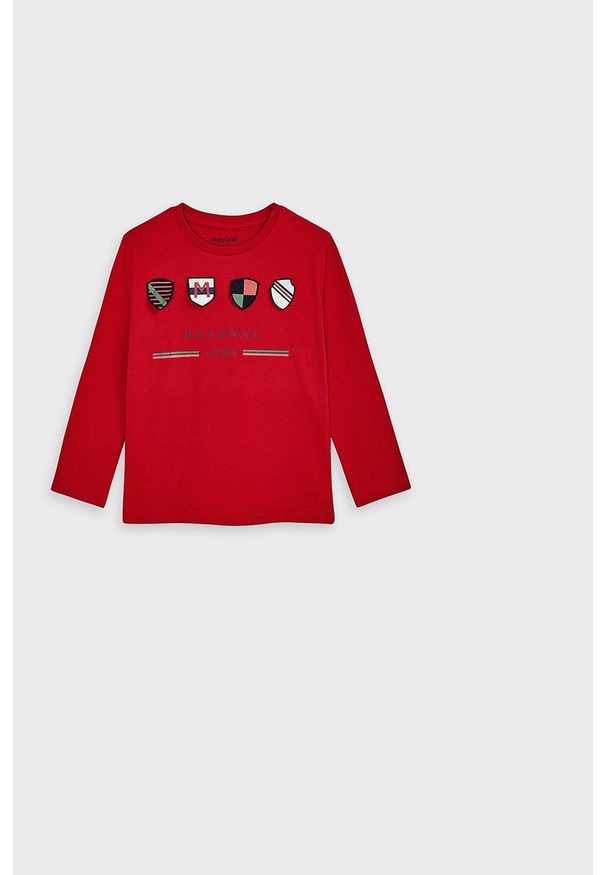 Czerwona koszulka z długim rękawem Mayoral z okrągłym kołnierzem, z aplikacjami, casualowa